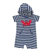 男寶寶短袖兔裝 純棉連帽連身衣 深藍橫條   Carter s卡特童裝 (嬰幼兒/baby/新生兒)