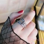 可愛氣質鑲鉆打結指環開口戒指時尚食指關節戒女潮【聚可愛】