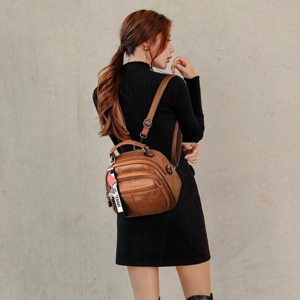 多功能後背包雙肩包女多功能小背包韓版時尚軟皮側背斜背手拎小包兩用 芊墨 618大促