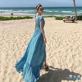 巴厘島超仙海邊度假裙女夏海南三亞旅游連身裙性感露背碎花沙灘裙 FX8026