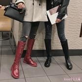 中筒馬丁靴2019秋款長靴女休閒皮靴綁帶高筒靴不過膝騎士靴子 XN7853【Rose中大尺碼】