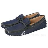 TOD'S Gommino Driving 丹寧拼接綁帶豆豆休閒鞋(黑藍色) 1620296-80