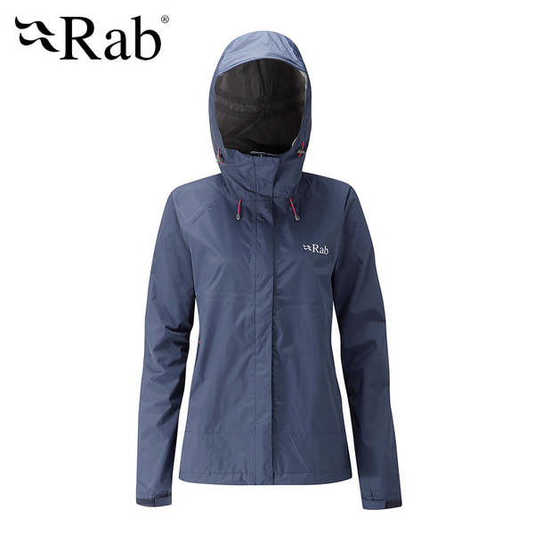 英國 RAB Downpour Jacket 高透氣連帽防水外套 女款 暮藍 #QWF63