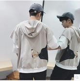 男士夏季薄款潮流大碼寬鬆五分袖連帽T恤PLL3640【男人與流行】