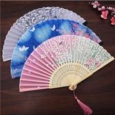 扇子折扇女式古風流蘇夏季隨身古裝折疊小竹扇【櫻田川島】