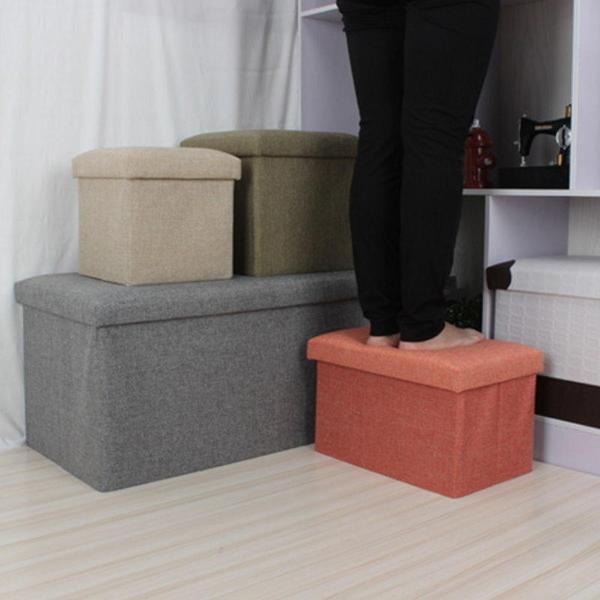 【GK190】簡約布藝儲物收納凳49x31x31CM 折疊換鞋凳 有蓋收納箱 收納椅★EZGO商城★