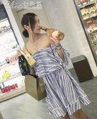 洋裝春夏淑女氣質露肩藍白條紋荷葉邊顯瘦連身裙「Chic七色堇」