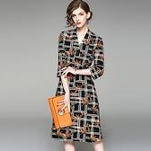 洋裝-七分袖V領碎花印花顯瘦女連身裙73of156【巴黎精品】