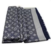 Louis Vuitton LV M71376 Monogram Denim 經典花紋羊毛絲綢披肩圍巾.藍 全新 現貨【茱麗葉精品】
