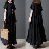 韓版胖MM大尺碼女裝長裙女寬鬆顯瘦短袖中長款連衣裙夏裝