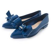 Petite Jolie 立體蝴蝶結尖頭娃娃鞋-湛藍