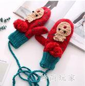 韓版可愛章魚全指手套加絨加厚保暖冬季掛脖手套學生情侶zzy5998『時尚玩家』