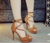 超高跟涼鞋 露趾交叉邦帶12cm超高跟細跟防水臺魚嘴涼鞋女鞋 米菲良品