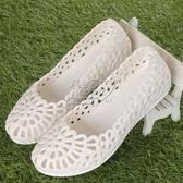 白色涼鞋女款涼鞋塑料鏤空柔軟沙灘鞋平底護士涼鞋夏季洞洞鞋  交換禮物