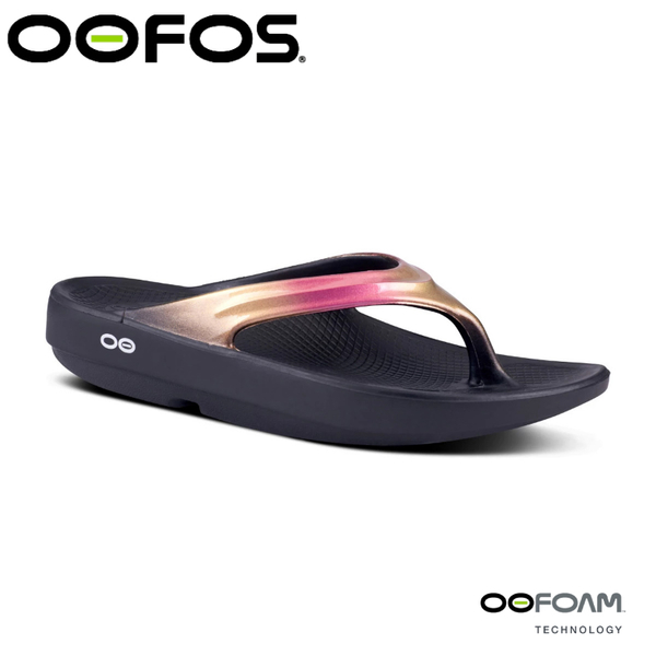 【OOFOS 美國 女 夾腳拖鞋 《黑/玫瑰金》】W1401/人體工學/舒壓拖鞋/按摩氣墊鞋/透氣涼鞋/夾腳拖鞋