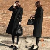 風衣女寬鬆毛呢外套中長款氣質大衣休閒百搭上衣【橘社小鎮】
