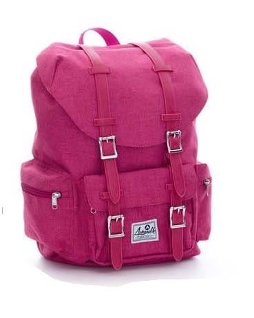 Backbager 背包族【美國 AIRWALK】學院風 抽繩束口袋 筆電後背包(小)-桃紅