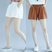夏新款A字大尺碼女裝棉麻短褲女百搭顯瘦鬆緊腰高腰休閒闊腿熱褲子
