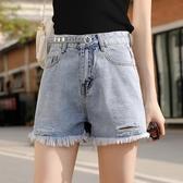 高腰破洞牛仔短褲 女夏季2020年新款韓版寬鬆顯瘦闊腿毛邊a字熱褲 JX2359『Bad boy時尚』