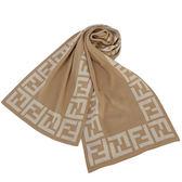 FENDI經典雙F織紋滾邊羊毛圍巾(淺棕色)084123-1