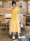 網紗洋裝 流行裙子遮肚小個子很仙的連身裙網紗學生氣質長款過膝仙女裙 星河光年