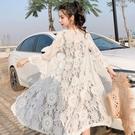 防曬服 泰國海邊度假沙灘防曬衣女中長款夏季百搭蕾絲鏤空開衫薄款外套潮