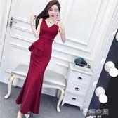夏裝2018新款女韓版名媛氣質V領無袖高腰荷葉邊包臀裙長裙洋裝