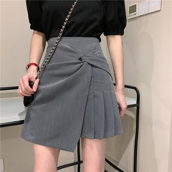 百摺裙夏季新款韓版高腰顯瘦不規則小眾A字百摺半身短裙女學生裙子 JUST M