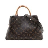 【台中米蘭站】全新展示品 Louis Vuitton Montaigne MM 手提/肩背二用包(M41056-咖)