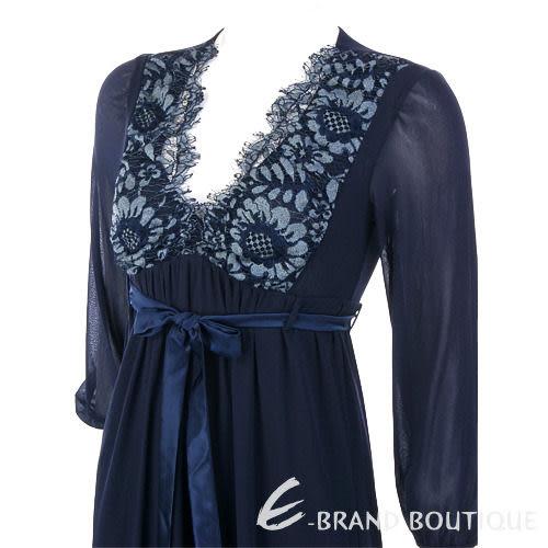 PAOLA FRANI 深藍色蕾絲繡花V領洋裝(附腰帶) 0910208-34