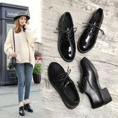 小皮鞋女英倫風學院黑色2019春季新款韓版百搭中跟粗跟 伊蒂斯女裝