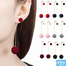 【37A70】shiny藍格子-甜美單品.簡約大小毛絨球球長款耳環
