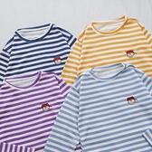 洋芋妹-正韓電繡查理圖案橫條紋長袖上衣 4色【SA545726】