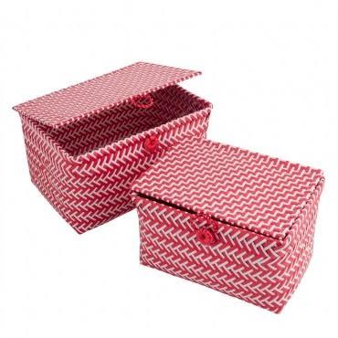 HOLA home 艾美特連蓋編織收納盒2入 紅白
