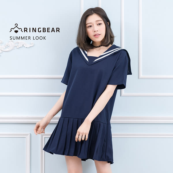 氣質洋裝--日系學院風氣質白緄邊水手領中厚感雪紡紗連身百褶裙(藍XL-5L)-D436眼圈熊中大尺碼