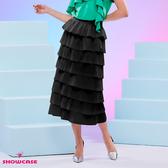 【SHOWCASE】韓版8層蛋糕層次顯瘦中長款魚尾裙(黑)