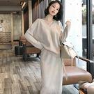 大韓訂製兩件式洋裝韓系長袖V領上衣素色針...