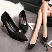 正韓尖頭鞋女細跟6cm中跟百搭高跟鞋黑色工作鞋單鞋