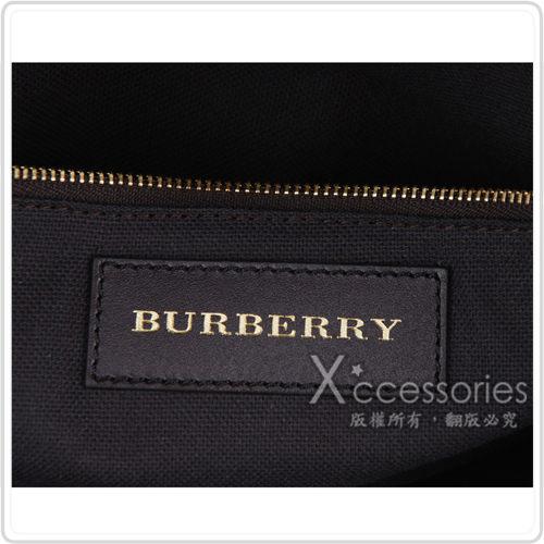 BURBERRY 經典戰馬格紋雙拉鍊手提/肩背水餃包(巧克力/小)