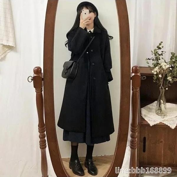 長版大衣 黑色外套女中長款年新款秋冬加厚過膝赫本風溫柔大衣學生 城市科技