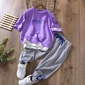 男童夏裝套裝兒童短袖T恤夏季韓版印花假兩件長褲薄中大童褲子潮 幸福第一站