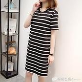 大碼女裝夏裝新款寬鬆胖mm顯瘦遮肚子藏肉春裝款洋裝女 檸檬衣舍