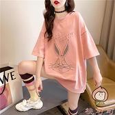 卡通短袖t恤女韓版寬松夏季中長款百搭上衣大碼女裝【桃可可服飾】