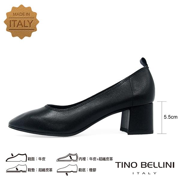 Tino Bellini義大利進口雅緻牛皮中粗跟鞋_黑 TF8504 歐洲進口款