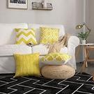時尚北歐【日本代購】靠墊套 枕套 棉麻制 抱枕套4件套 - 幾何黃色