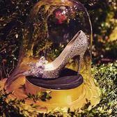 高跟鞋 水晶鞋婚鞋高跟婚紗照鞋白色灰姑娘水鉆單鞋新娘結婚鞋 巴黎春天