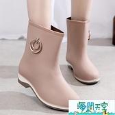 女雨鞋 中筒成人雨靴防滑加絨水鞋女膠鞋防水時尚韓版短筒水靴外穿【海闊天空】