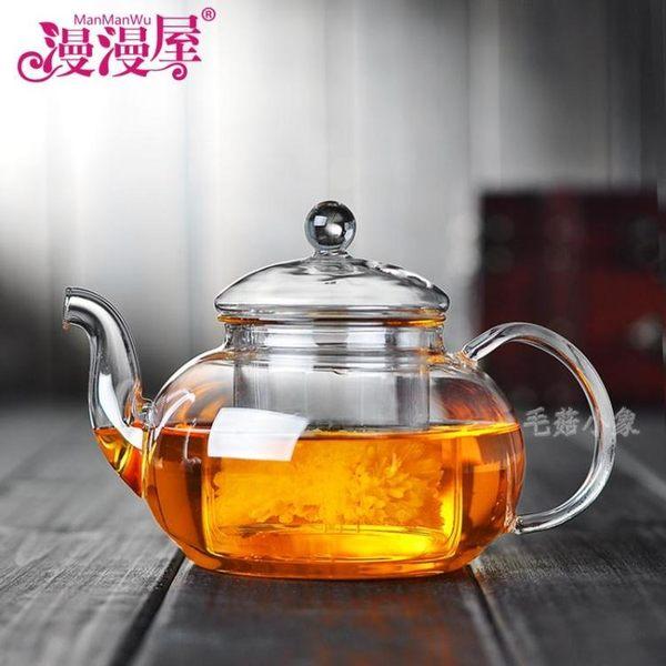 耐熱玻璃帶蓋過濾加厚茶壺 DA3485『毛菇小象』