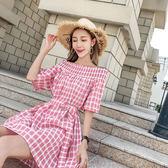 $299出清 韓系復古一字領寬松格子復古收腰配腰帶短袖洋裝