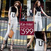 克妹Ke-Mei【ZT50703】歐洲站 彈力字母繃帶拉鍊針織背心破損牛仔吊帶褲套裝